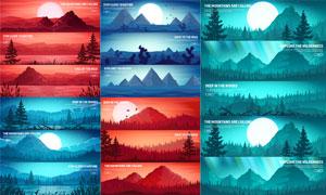 明月群山树林自然风光主题矢量素材