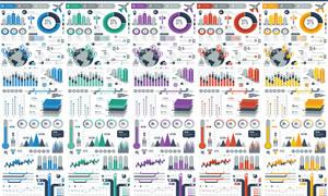 五款不同配色方案的信息图矢量素材