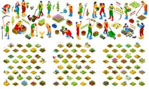 農業生產與農民等立體模型矢量素材