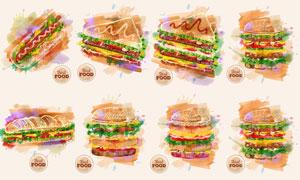 水彩元素演绎的热狗汉堡包矢量素材