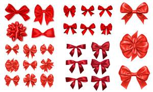 红色的质感蝴蝶结元素设计矢量素材