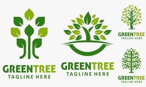 绿叶与树木元素标志创意矢量素材V1