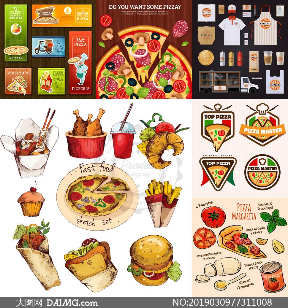 披萨与汉堡包快餐主题设计矢量素材