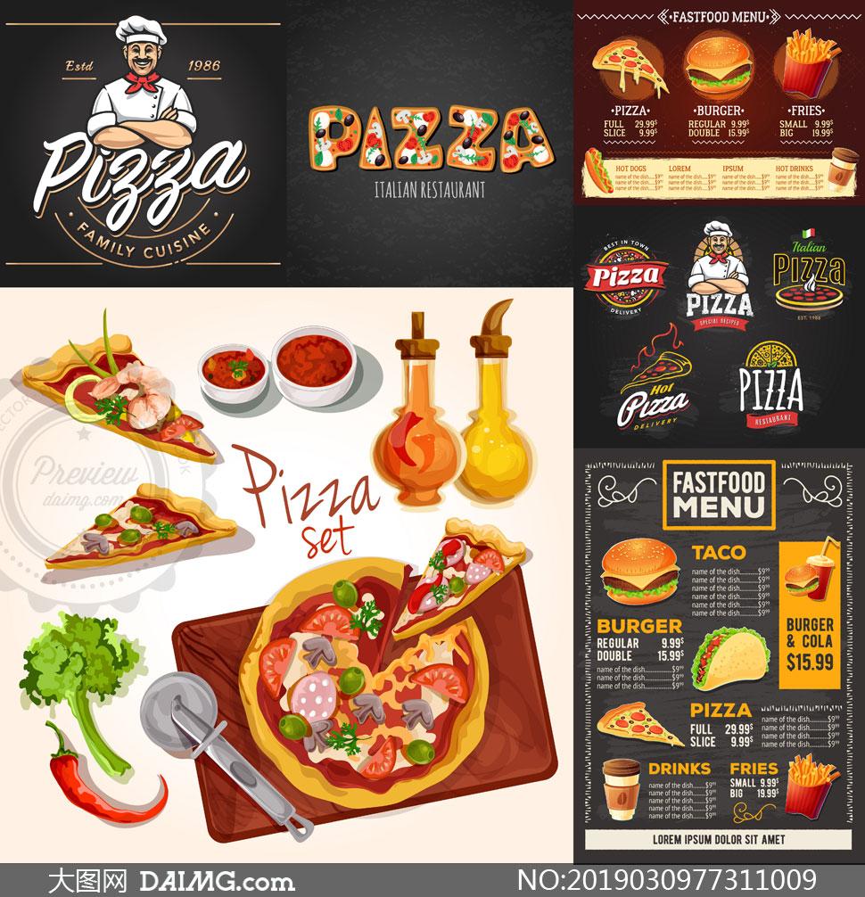 汉堡包薯条与披萨主题设计矢量素材