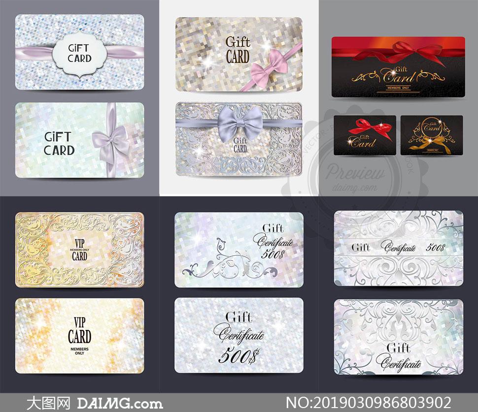 蝴蝶结花纹装饰礼品卡设计矢量素材
