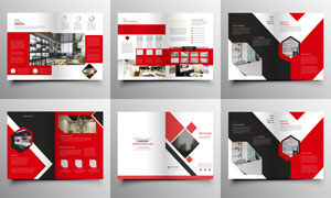 红色的主配色画册页面设计矢量素材