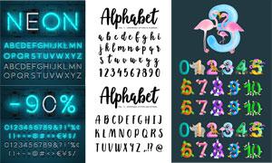 霓虹與手寫效果等英文字母矢量素材