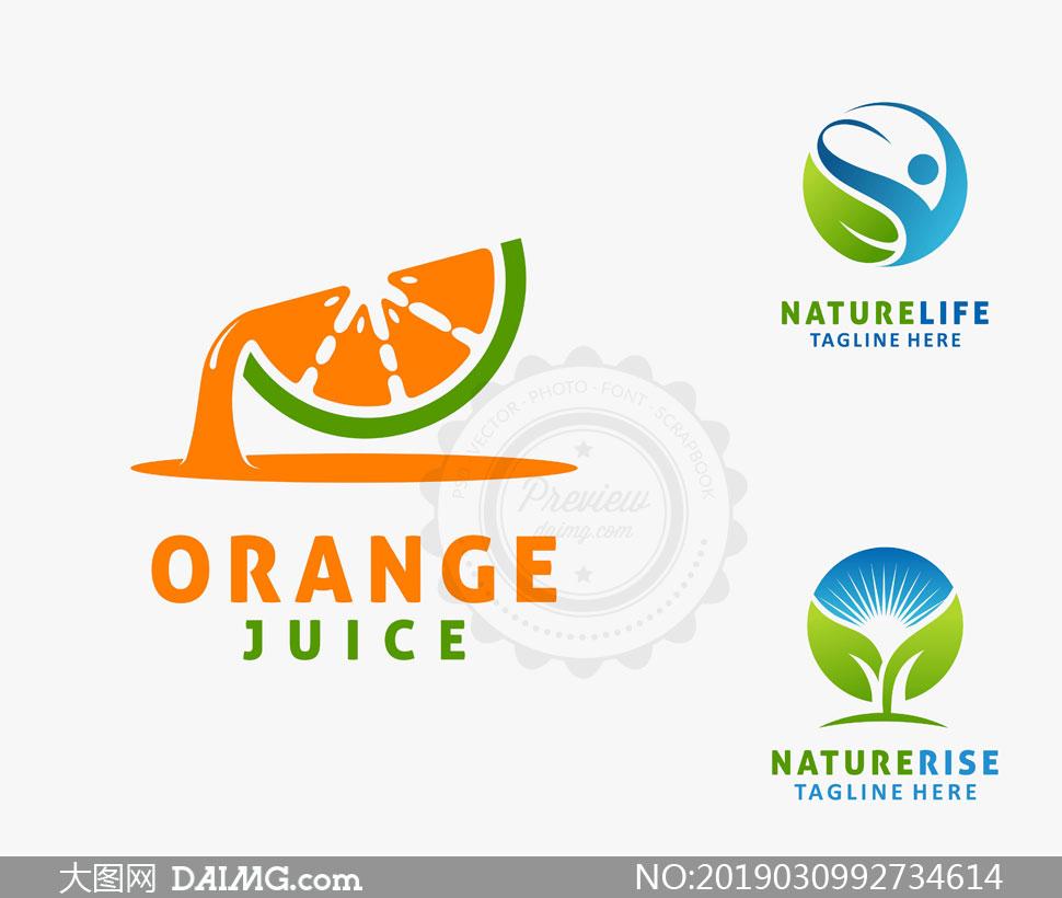 橙子与绿叶人形等创意标志矢量素材