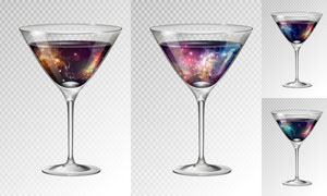 酒杯之中的梦幻鸡尾酒主题矢量素材