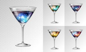 高腳杯中的炫麗雞尾酒主題矢量素材