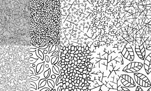 树叶与线条等元素黑白无缝背景图片