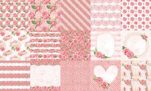 粉红色玫瑰花背景边框设计高清图片