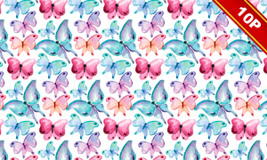 水彩效果蝴蝶无缝拼接背景高清图片