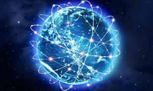 被光线环绕的地球创意视觉高清图片
