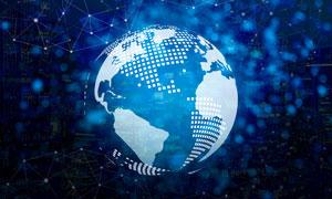 蓝色星球与点线等元素创意高清图片