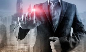 商务人物红色光效点击手势高清图片