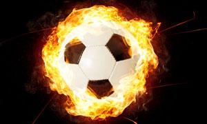 燃烧着的足球创意设计摄影高清图片