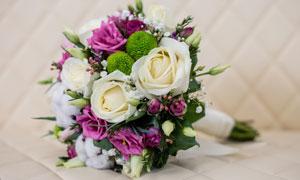 精美包装的玫瑰花捧花摄影高清图片