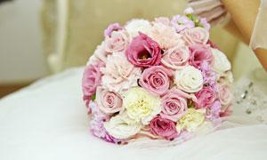 白色婚纱上的玫瑰捧花摄影高清图片