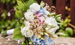 白色的玫瑰等鲜花捧花摄影高清图片