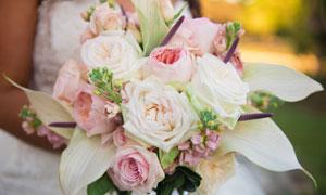 花香四溢的婚庆用花束摄影高清图片