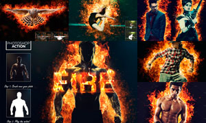 創意的人像添加火焰燃燒效果PS動作