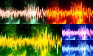 音频波形元素炫彩背景创意五百万彩票图片