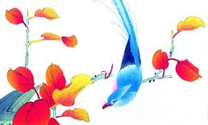 花枝上的蓝色小鸟主题绘画创意图片