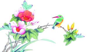鲜艳花朵枝头上的小鸟绘画高清图片