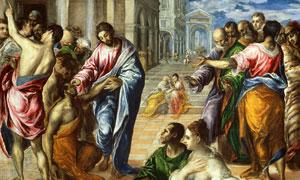 基督治疗盲人的奇迹主题绘画高清图