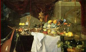 桌上的多种水果等静物绘画高清图片