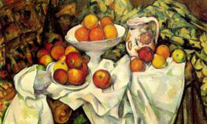 瓷器盘子与红苹果静物绘画高清图片