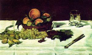 在桌上的玻璃杯与水果静物绘画图片