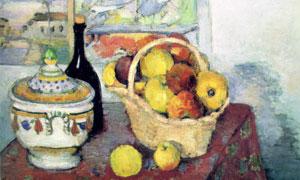 桌面上的瓷器与水果等绘画创意图片