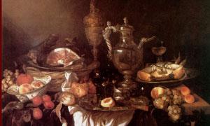 桌上杯盘罗列景象静物绘画高清图片