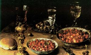 桌上的酒具器皿与水果绘画高清图片