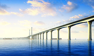 港珠澳大桥黄昏美景摄影图片