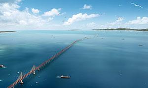 蓝天下的港珠澳大桥美景摄影图片