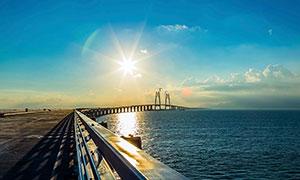 建设中的港珠澳大桥摄影图片