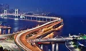 港珠澳大桥美丽夜景摄影图片