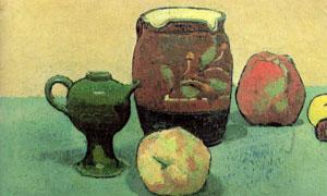水果陶罐主题静物壁画创意高清图片