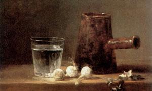 桌上的水杯与大蒜主题静物绘画图片