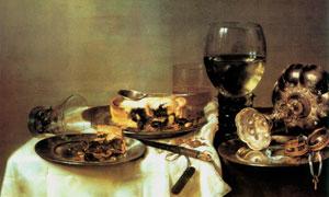 杯盘罗列的餐桌主题静物画 澳门线上必赢赌场