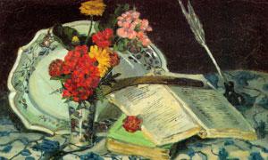 鲜花瓶子与两本书静物绘画高清图片