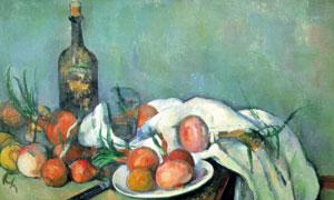 桌上的白布与酒瓶蔬菜静物绘画图片