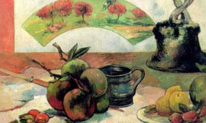 桌上的杯子与水果静物绘画 澳门线上必赢赌场