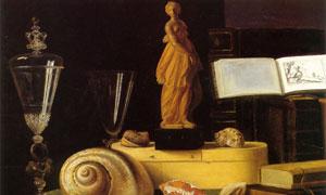 雕塑贝壳与书本等静物绘画 澳门线上必赢赌场