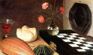 酒杯面包与花瓶等静物绘画高清图片