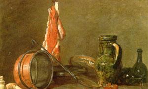 猪肉与瓶瓶罐罐等静物绘画 澳门线上必赢赌场