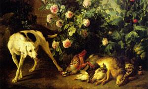 狗狗与花草丛边的动物油画 澳门线上必赢赌场